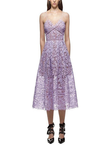 Pretty Violet Hollow Spaghetti-neck Midi Dress