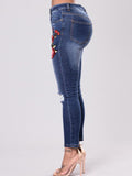 Fashion Elastic Embroidered Ripped Jean Pants Bottoms
