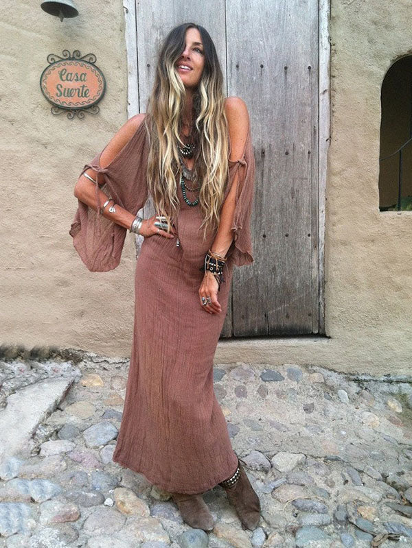 Deep V-neck Off-shoulder Flare Sleeve Long Dresses