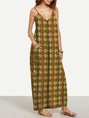 Special Gold Plaid Bohemia Spaghetti Straps V Neck Maxi Dress