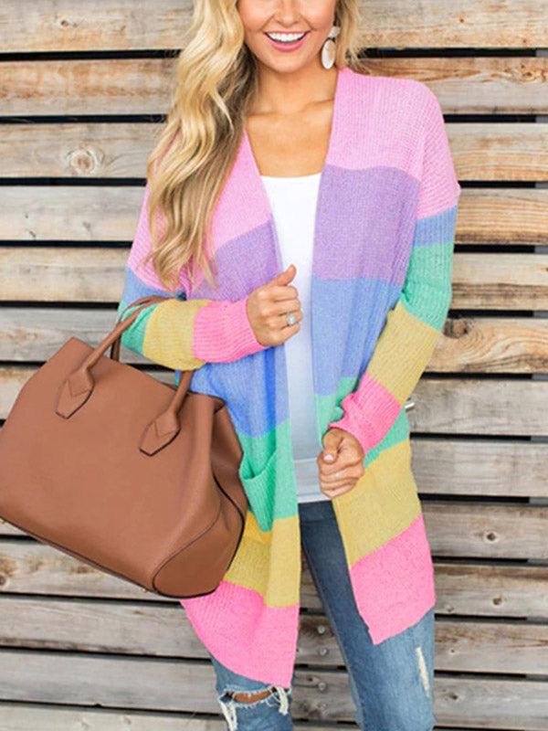 Fashion knitting striped rainbow colored Cardigan Tops
