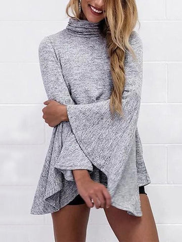 Gray Flared Sleeves High-neck Blouse&shirt Tops