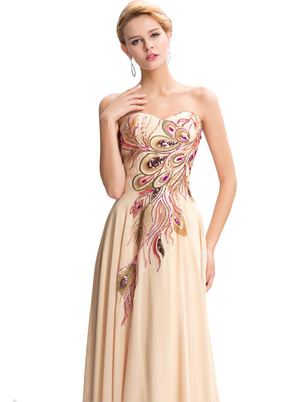 Embroidered Strapless Evening Dress