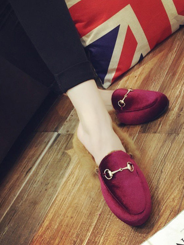 Solid Color Fleecez Flat Shoes