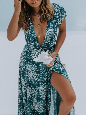 Deep V-neck Split-side Floral Maxi Dress