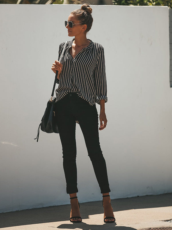 Fashion Striped Blouses&shirts Tops