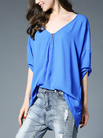 V-Neck 3/4 Sleeve Solid Color With Zip Plus Size Blouse Top