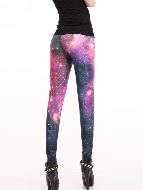 Alternative Conspicuous Starry Sky Digital Print Leggings Bottoms - oshoplive