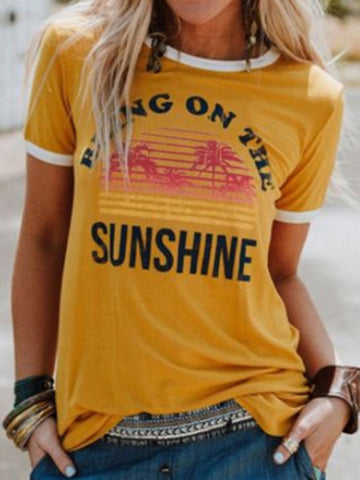Sunshine Floral Half Sleeve T-Shirts Tops
