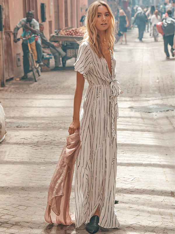 Striped Bow- Deep V-neck Maxi Dress