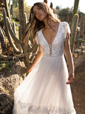 V-neck Backless Maxi Wedding Dress
