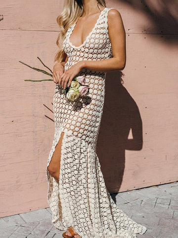 Asymmetric Sleeveless Split-joint Maxi Dress