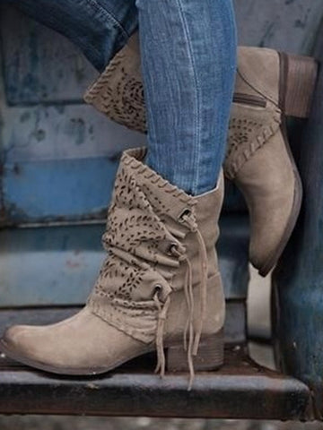 Hollow Riband Mid Heels Boots Shoes