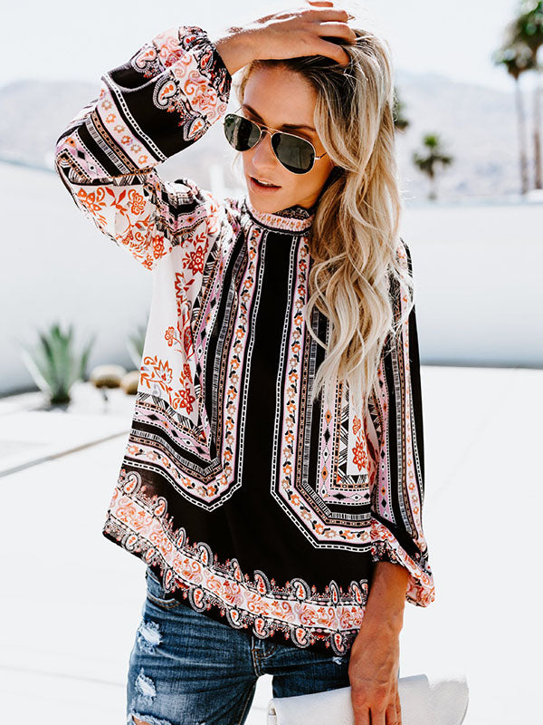 Beautiful Floral-Print Long Sleeve Bohemia T-Shirt Tops