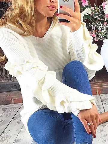 Loose Solid Falbala Knitting Sweater