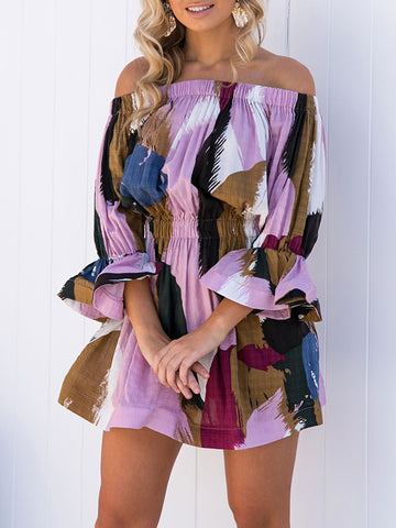 Off-the-shoulder Printed Flared Sleeves Mini Dress