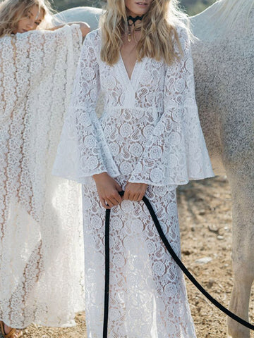 Lace Flared Sleeve Split-side Maxi Cover-up