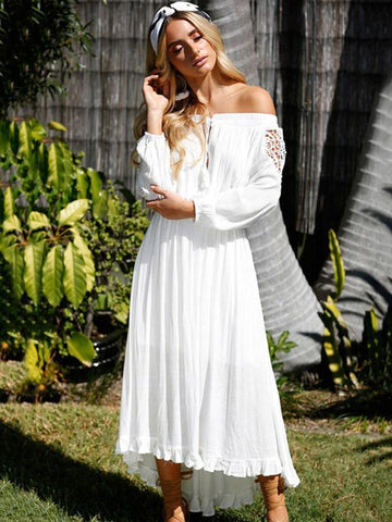 Sexy Hollow Off-the-shoulder Long Sleeves Maxi Dress