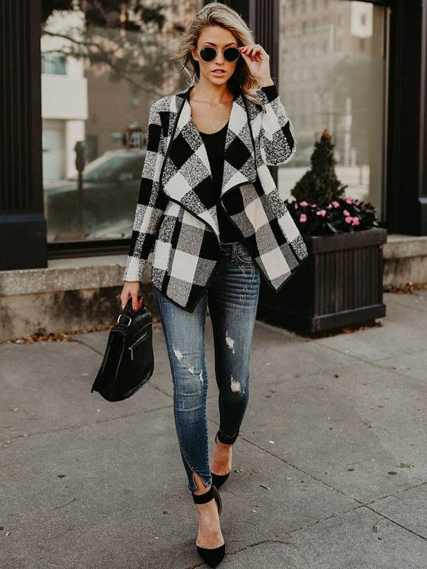 Fashion Plaid Lapel Long Sleeves Outwears Tops