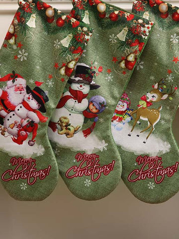 Green Christmas Stocking  Large Print Gift Bag Decoration Accessories