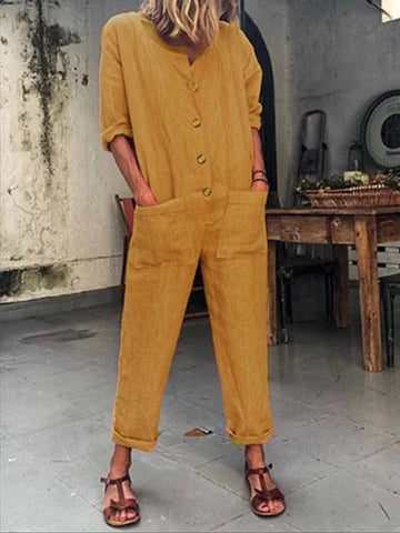 Solid Long Sleeve With Pocket Jumpsuits
