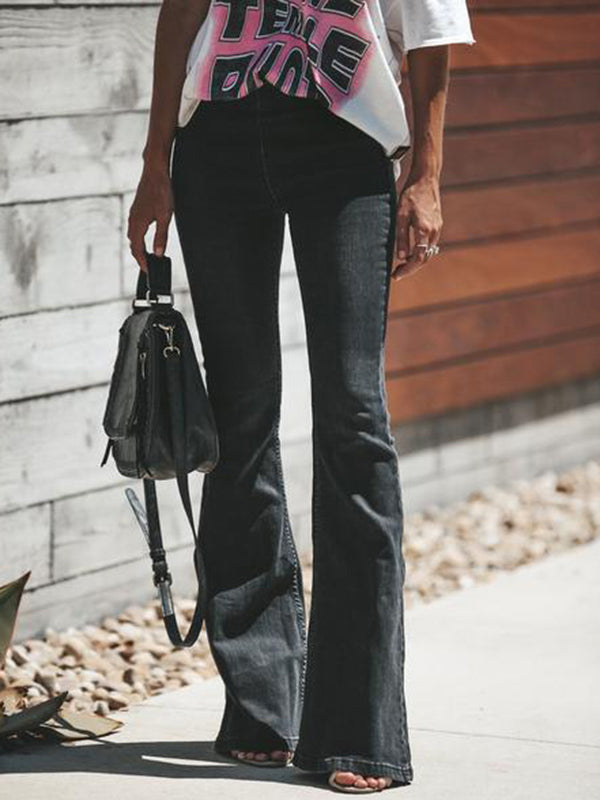 Fashion Black Bell-bottoms Jean Pants Bottoms