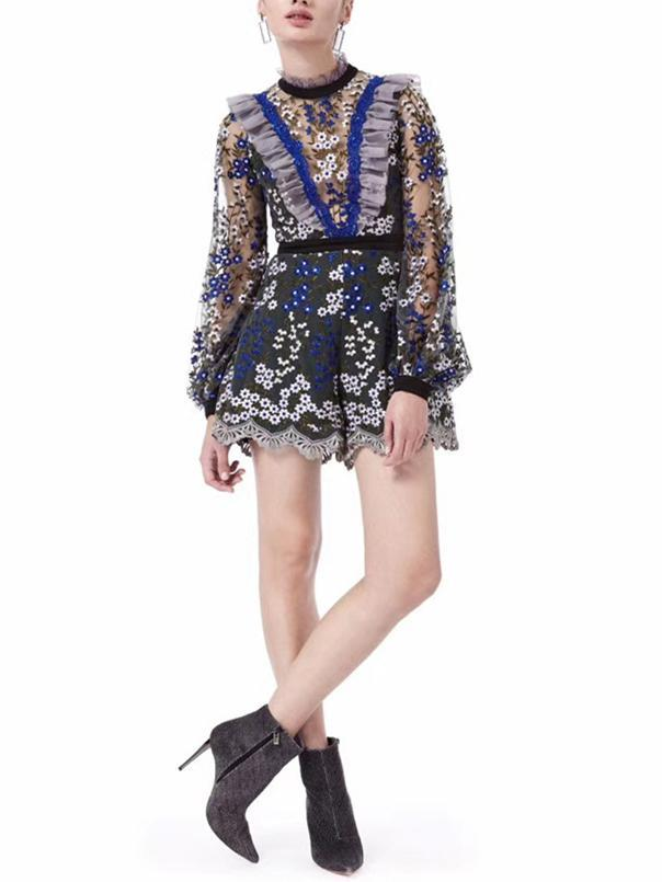 Embroidery Falbala Split-joint  Long Sleeves Short Jumpsuits