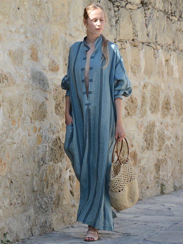 Striped Deep V-neck Ramie Cotton Maxi Dress