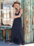Spaghetti-neck Bow-embellished Polka-dot Maxi Dress