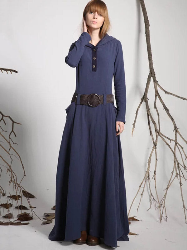 Hooded Long Sleeves Belted Maxi Dress