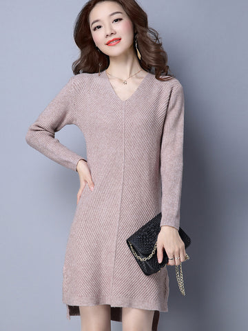 Simple Fashion V-Neck Knit Solid Color Long Sweater Dress