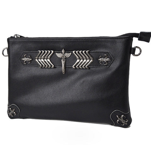 Black Real Leather Rivets Shoulder Bag