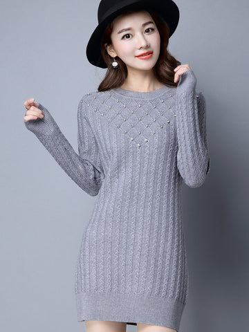 Temperament Simple Round Neck Solid Color Imitated Diamond Knit Long Sweater