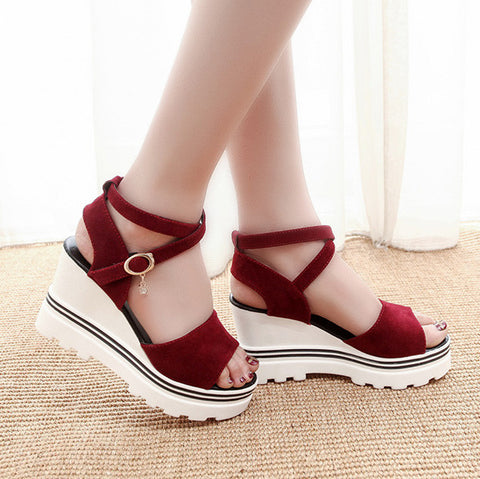 Retro Solid Color Round Toe Sandals Wedge Heel