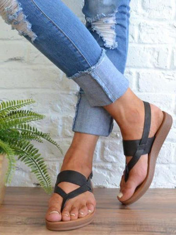 Casual Solid Toe Flat Sandals