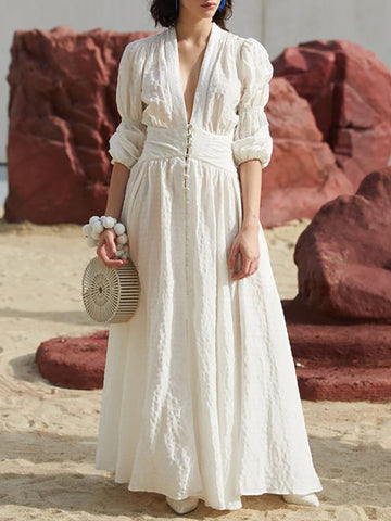 Solid Color Drape Short Bubble Sleeves Maxi Dress