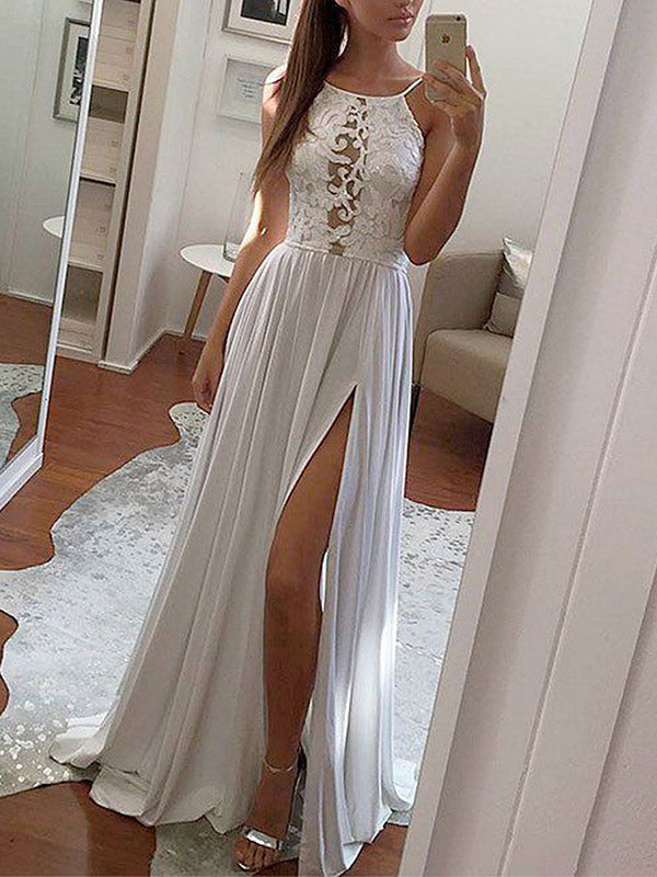 Hollow Solid Spaghetti-neck Maxi Dresses