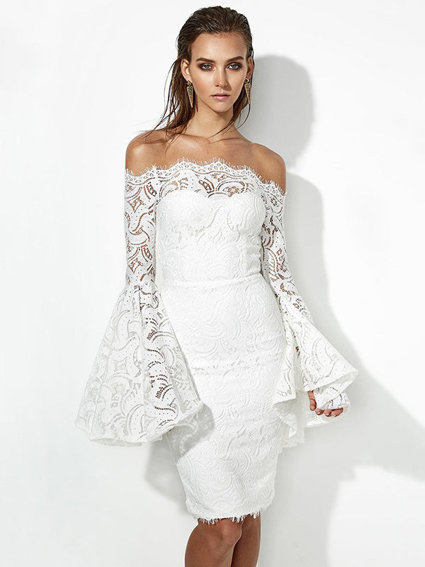 K'Mich Weddings - wedding planning - wedding dresses - sexy lace flared sleeves off the shoulder midi dress - oshoplive