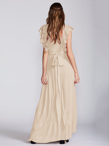 V-neck Solid Lace Short Sleeves Maxi Dress