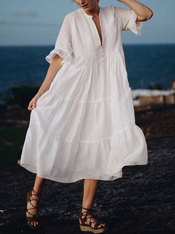 Vacation V-neck Short Sleeve Loose Midi Dress