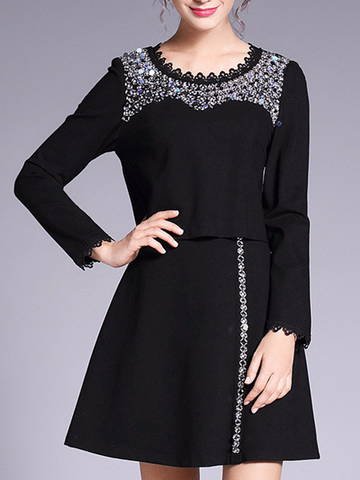 Pretty Plus Size Round Neck with Beads Long Sleeve Dress Suits