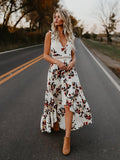 Bohemia Asymmetry Floral V Neck Backless Maxi Dress