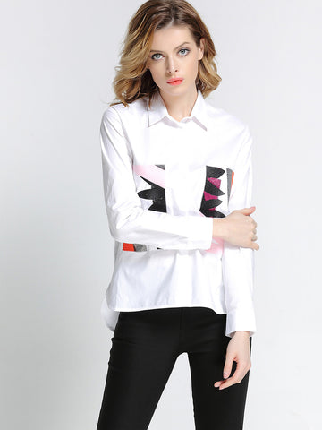 Top Quality Attractive lapel Long Sleeve Print Pure Cotton Blouses&shirts Tops