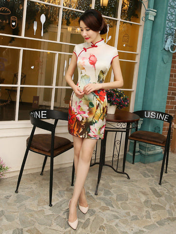 Pretty Printed Cap Sleeve Turtle Neck Side Split Short Cheongsam Party Dress