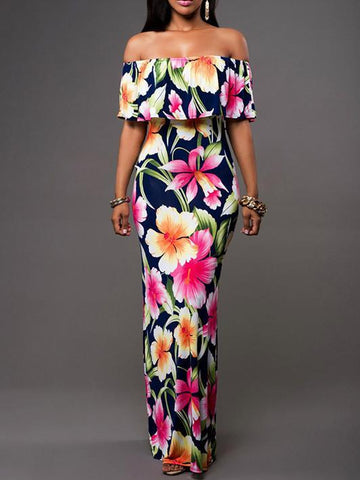 Popular Fashion Floral-Print Off-Shoulder Falbala Slim Fit Maxi Dress