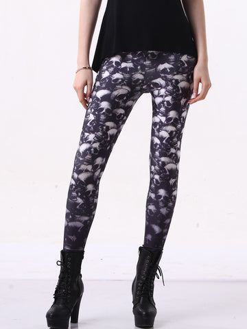 Popular Theme Conspicuous Skull Printing Leggings Bottoms