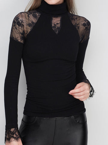 Sexy Attrractive Split Joint Lace Band Collar Flare Sleeve Slim Fit Blouses&shirts Tops