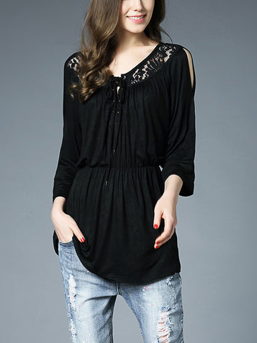 Round Neck Long Sleeve Lace-up Lace Plus Size Blouse Top