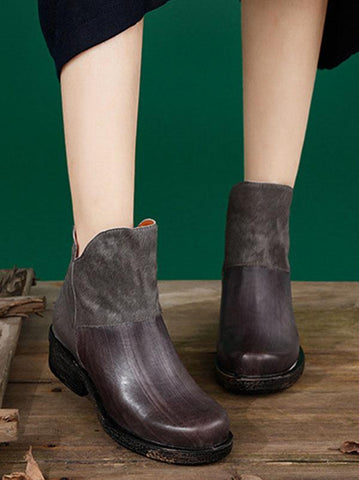 Split-joint Cowhide Soft Short Martin Boots