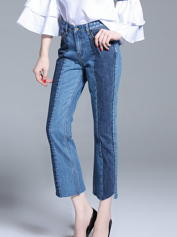 Unique Irregularity Gradient Color Jeans Pants